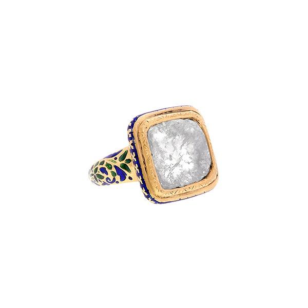 Doyle & Doyle | Ring: Diamond Slice Kundan Enamel* Ring