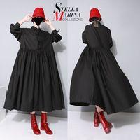 Новый 2017 Европейский Женщины Черный Макси Лонг Dress Плюс Размер стандартный Воротник С Длинными Рукавами Лук Хлопок Плиссированные Свободную Рубашку Платья 1748