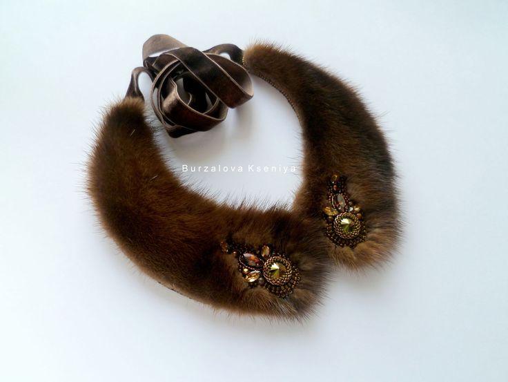 Купить Воротничок 023, норка - воротничок из бисера, воротничок из меха, вышивка по меху