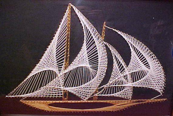Vintage Nautical String Art Sailing Ship 1970's Modern