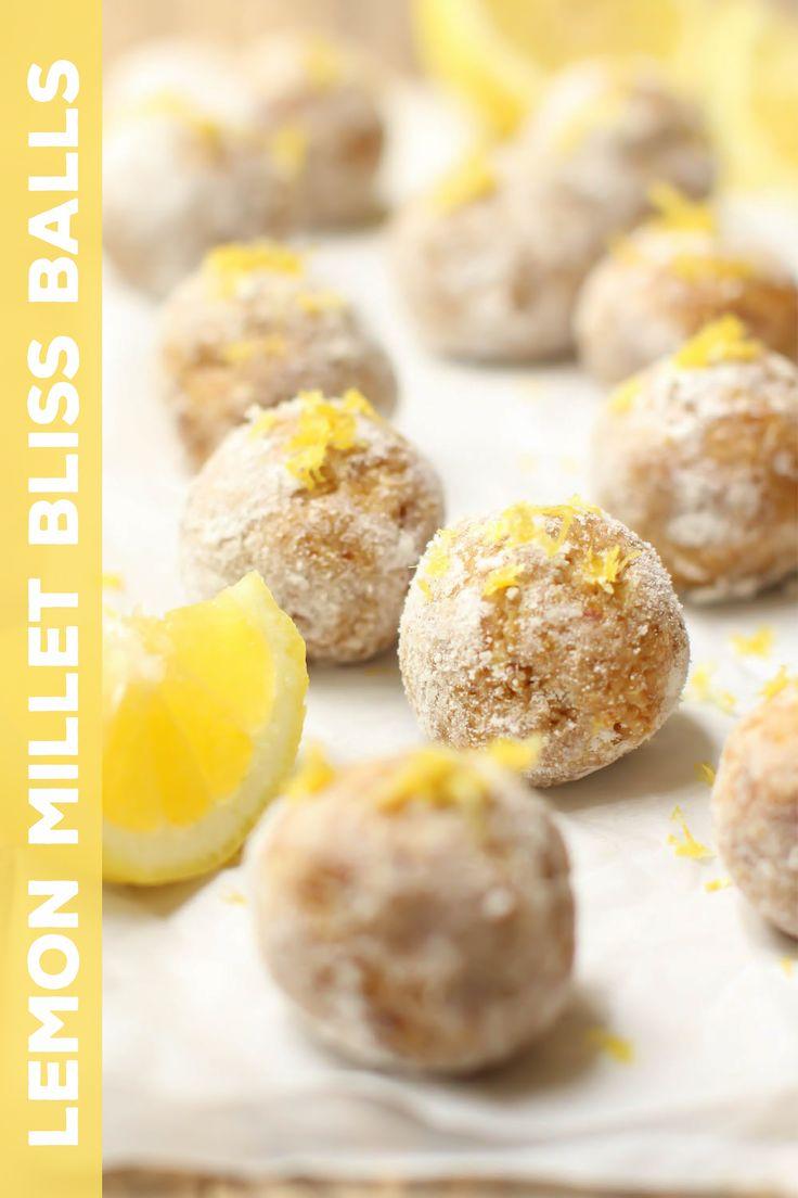Lemon Millet Bliss Balls #vegan #nobake #snack #glutenfree #healthy