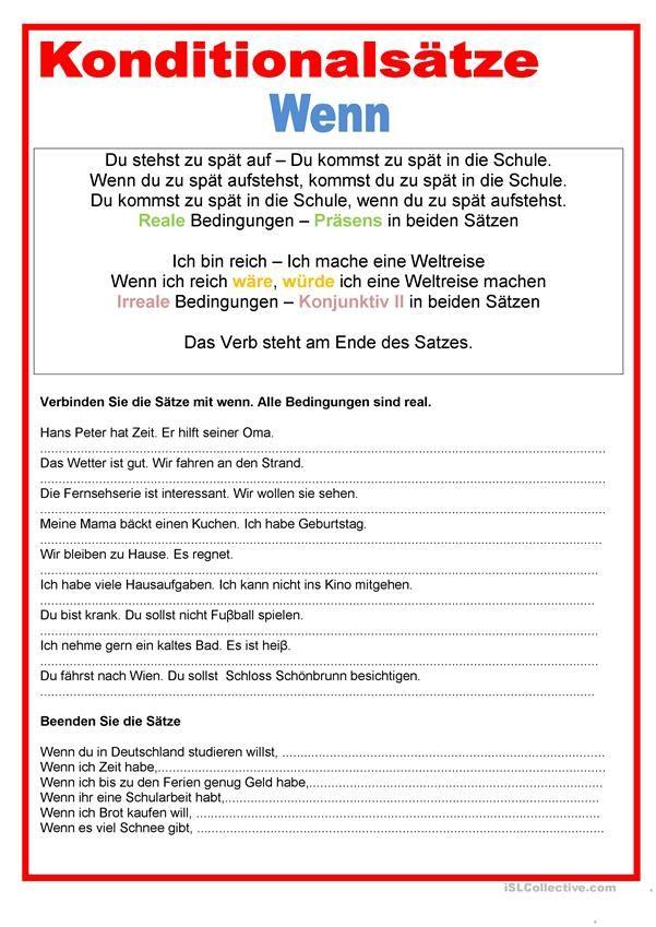 Konditionalsätze - wenn   Deutsch   Pinterest   Printable worksheets ...