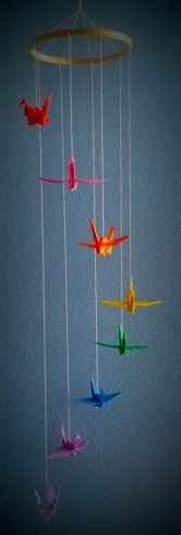 Rainbow Origami Crane Spiral Mobile by meligami on Etsy
