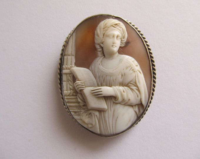 Antique shell cameo brooch, Large museum quality Roman classic handmade cameo pin of Sibilla Persica, woman scholar with book