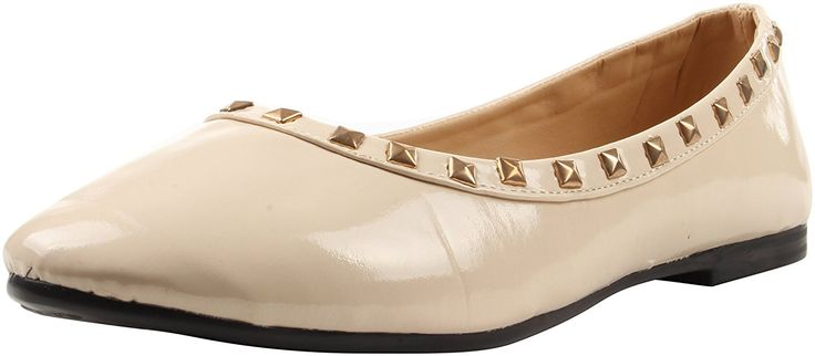 Enimay Women's Ballet Style Flats Adorned with Pyramid Studs Casual Formal Shoes Black 6