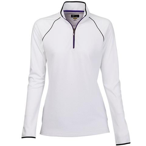 White Greg Norman Ladies Zip Textured Golf Pullover available at Lori's Golf  Shoppe