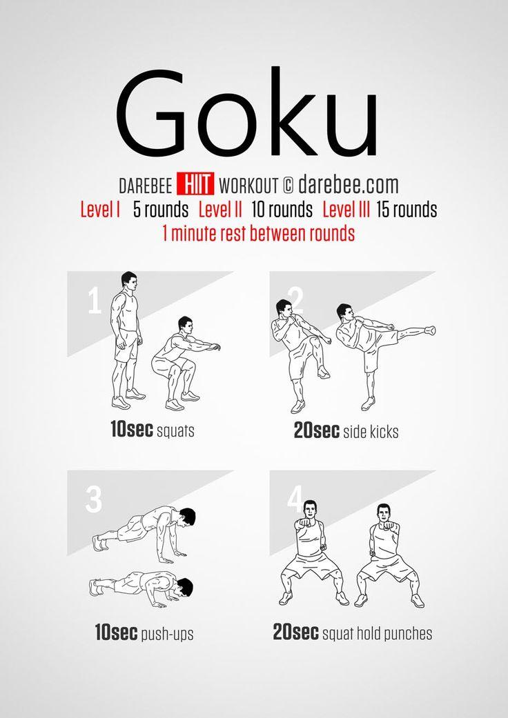 Goku HIIT Workout Exercise & Stretching Pinterest