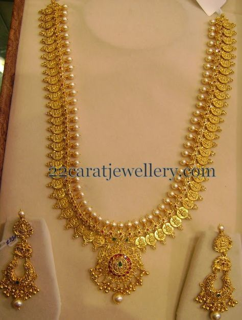 Jewellery Designs: Kasu Mala with Chandbalis 150 Gms