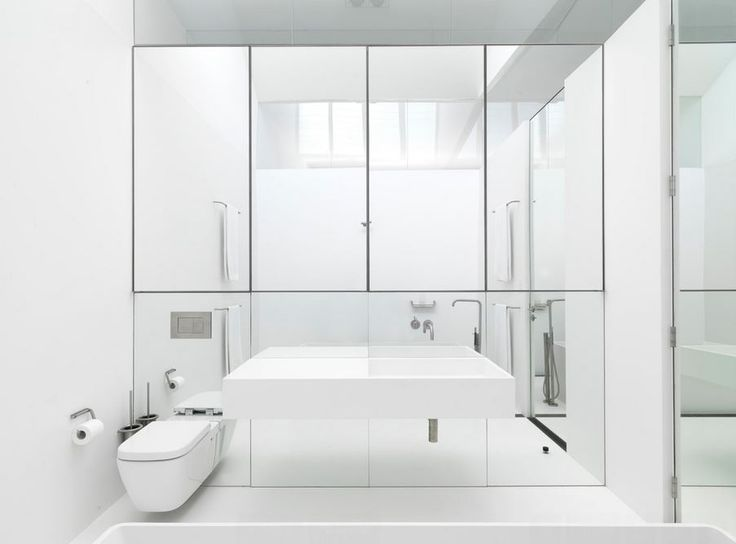 View in gallery Ultra-modern bathroom with a mirrored wall