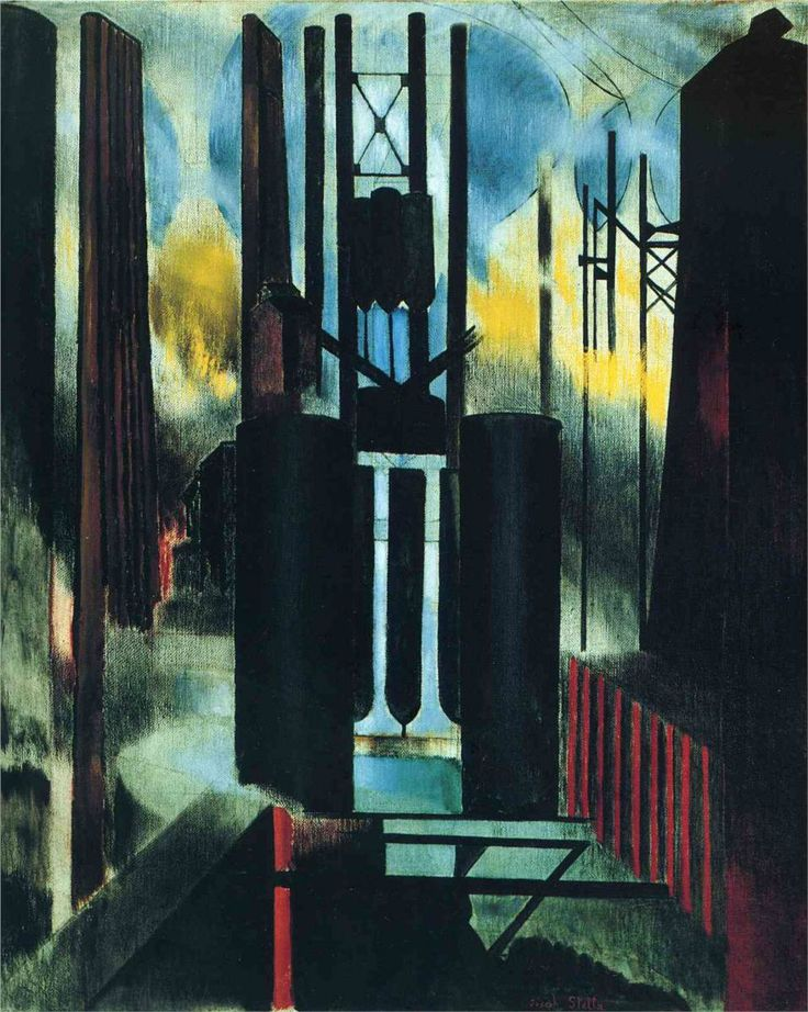 Factories: 1918 by Joseph Stella (Part of Exhibit: American Modern: Hopper to O'Keeffe - Museum of Modern Art, NYC) - Modernism #FredericClad