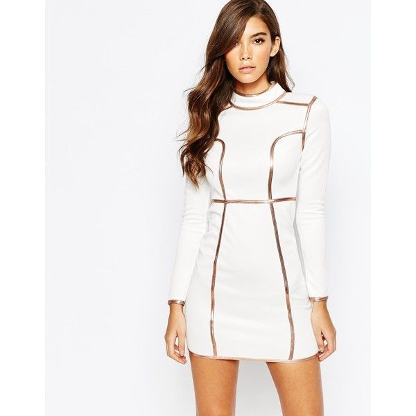 Rare London High Neck Mini Dress With Metallic Piping ($71) ❤ liked on Polyvore featuring dresses, whiterosegold, metallic dress, round neck dress, high neckline dress, slimming white dress and mini dress