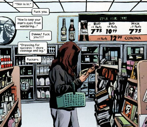 Jessica Jones's reaction to typical women's mag blurbs says it all. (From Alias, by Brian Michael Bendis & Michael Gaydos.)
