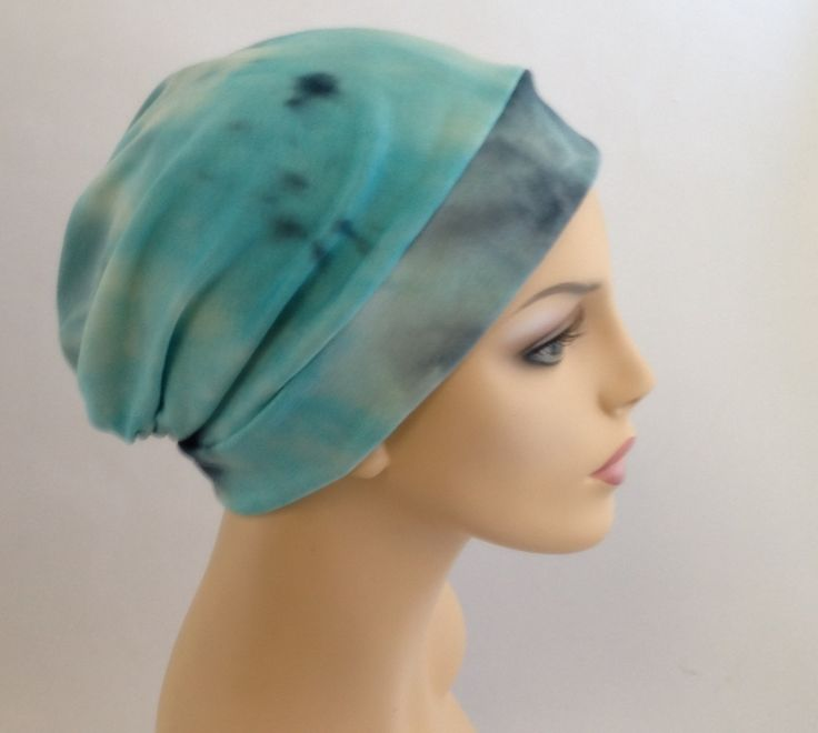 Turban Hat Chemo Hat Sleep Hat Alopecia Cap Slouch Hat Aqua, Turquoise, Gray, Boho
