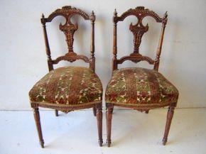 Antique pair of Louis XVI mahogany chairs # as/2575 #LouisXVI