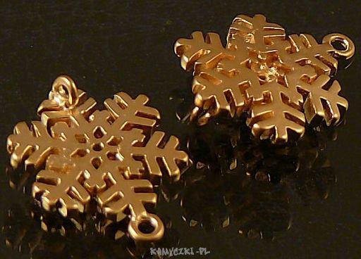 Przekladka Śnieżynka 15mm złocona 24-karatowym złotem - Półfabrykaty jubilerskie, narzędzia jubilerskie, elementy srebrne i perły - Sklep Mabi