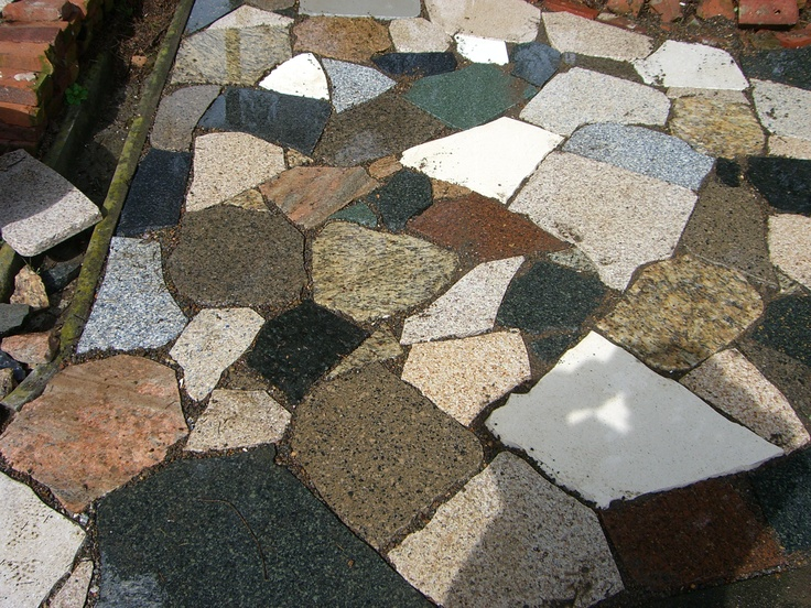 Patio made from recycled counter top granite.