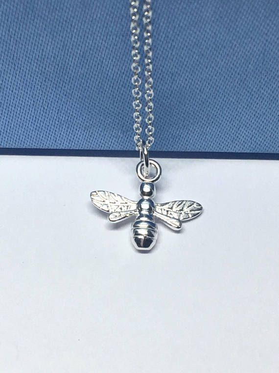 Sterling Silver Bee Necklace Honey Jewellery Gift For Her Delicate Cute Jewelry Uk