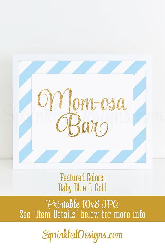 Momosa Bar Sign, Baby Blue Gold Glitter Mom-osa Mimosa Bar Baby Shower Ideas, Baby Boy Sip N See Party Sign Printable 10x8 Drink Sign - SprinkledDesigns.com