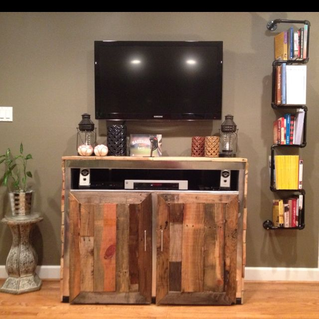 homemade entertainment center and homemade bookshelf