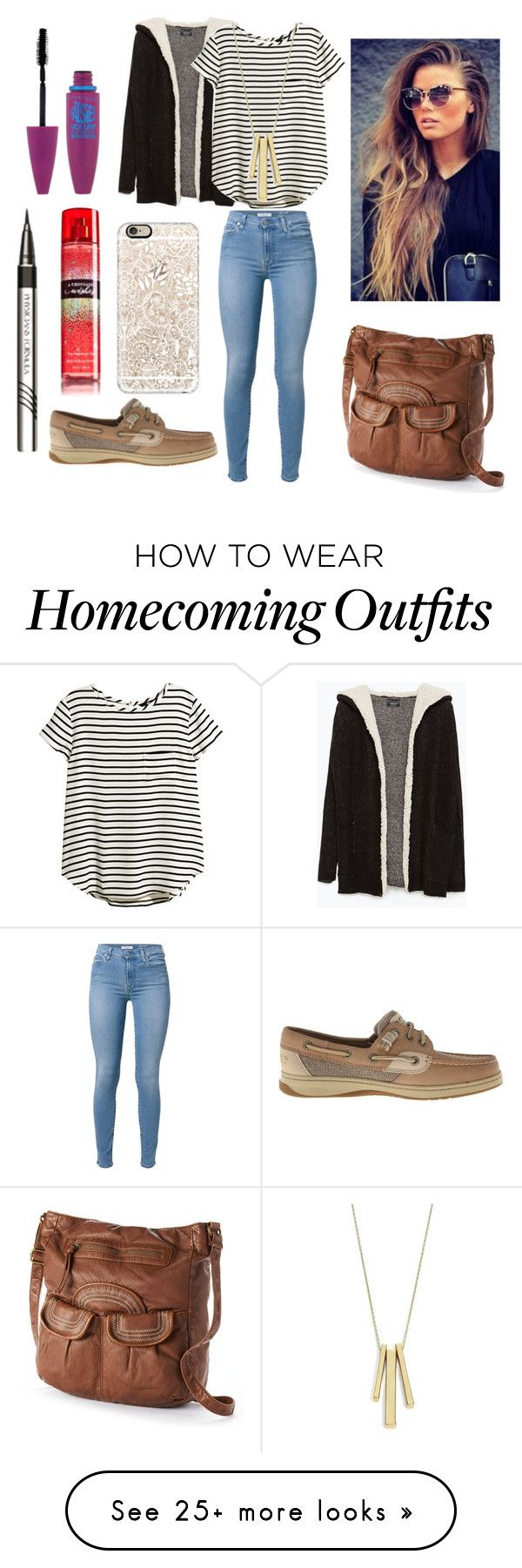 """""""Untitled #233"""" by rileydance18 on Polyvore featuring Casetify, 7 For All Mankind, Zara, H&M, Sperry Top-Sider, Mudd, Maybelline and Lauren Ralph Lauren"""