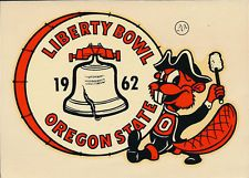 Oregon State  **SUPER RARE** Liberty Bowl 1962 College Decal vtg Beavers program