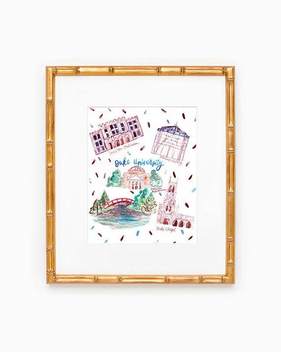 Duke University Map Print In 2019 Products Map Watercolor Map