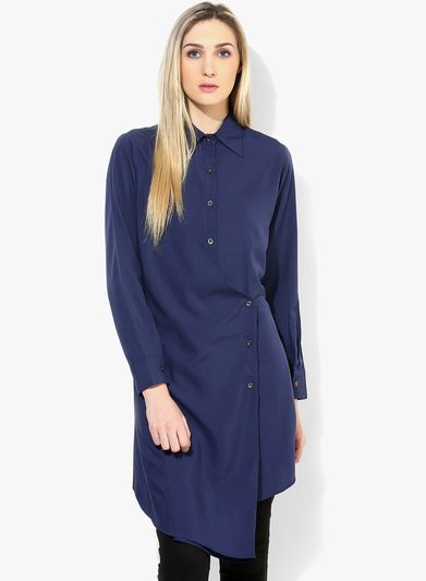 Buy Threesome Blue Solid Tunic for Women Online India, Best Prices, Reviews | TH428WA74SNXINDFAS