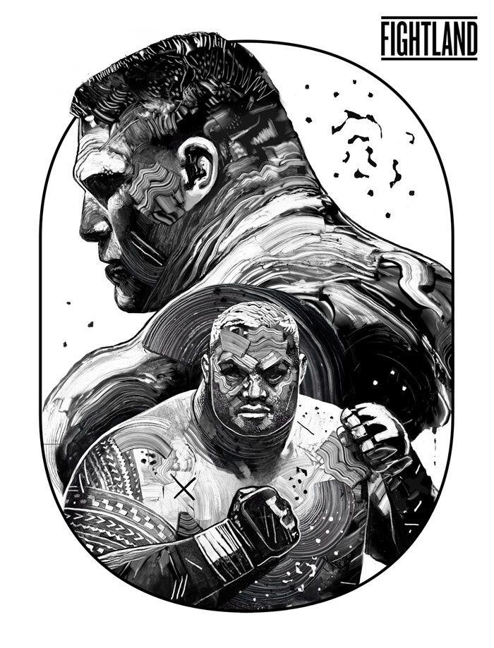 Mark Hunt vs. Brock Lesnar, UFC 200, Artwork by Gian Galang