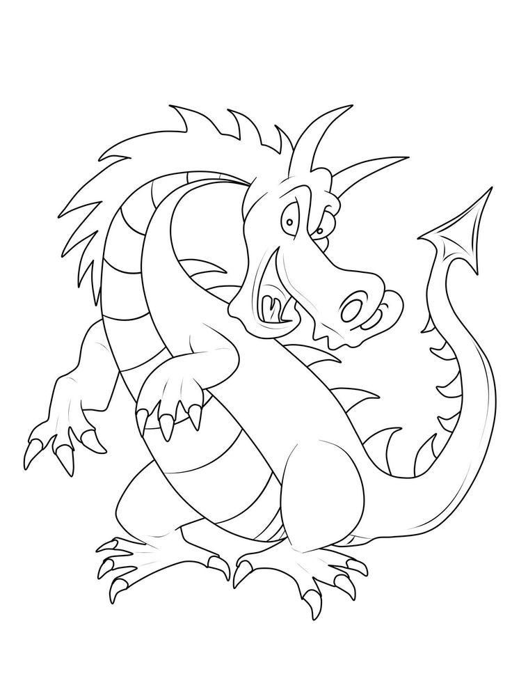ausmalbild ritter und drachen großer gefährlicher drache