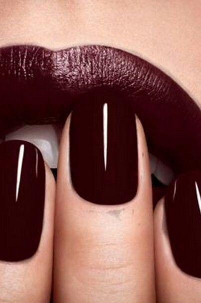Matchy matchy…aubergine nail and lip!