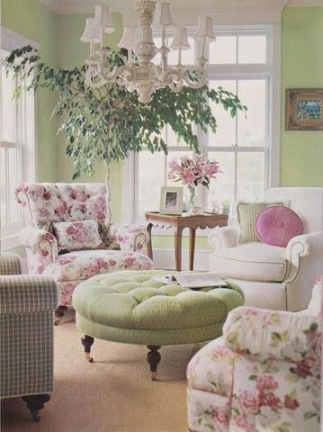 Pink and green shabby chic sitting room