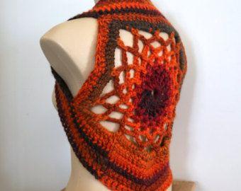 Mandala vest, orange, fire, festival wear, men or women, ladies top, pixie vest, crochet, hippie, burning man, dream catcher vest
