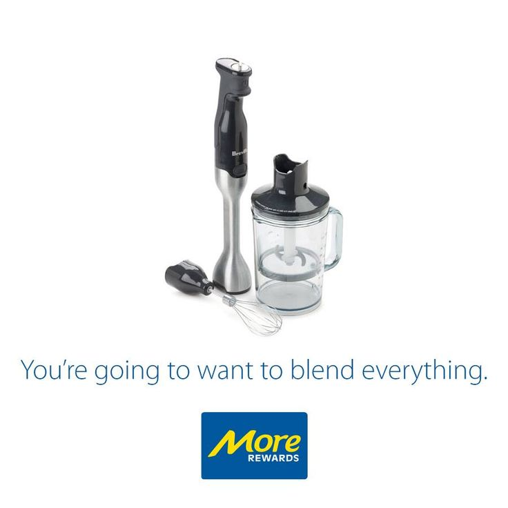 The ideal blender that comes with attachments that include one wire whisk, three cup chopper attachment with stainless steel blade and a five cup mixing jug with lid.  Get yours today: https://www.morerewards.ca/…/breville-control-grip-immersio…