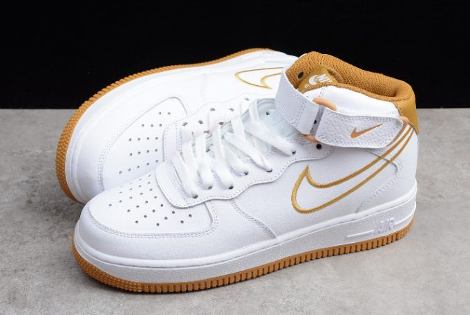 Mens Nike Air Force 1 Mid 07 White Muted Bronze Aq8650 101 1