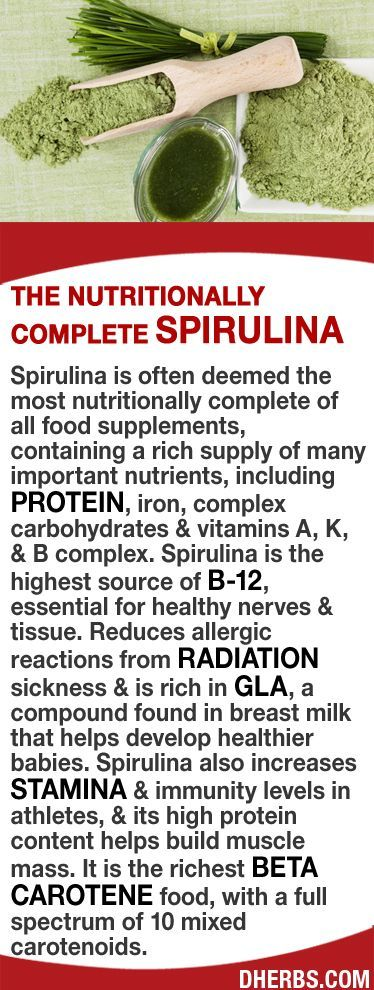 Spirulina is often deemed the most nutritionally complete of all food supplements, containing a rich supply of nutrients including protein, iron, complex carbs & vitamins A, K, & B complex & is the highest source of B12, essential for nerves & tissue. Reduces allergic reactions from radiation sickness & is rich in GLA, (found in breast milk). It increases stamina & immunity levels in athletes, & its high protein helps build muscle mass. It is the richest beta carotene