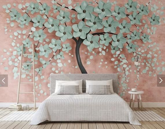 3D wall mural flowers, removable wallpaper mural for bedroom, wall decor, home decor, wall art painting on canvas