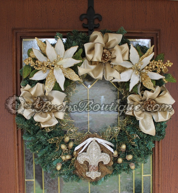 christmas wreath, fleur de lis, gold wreath, wreath