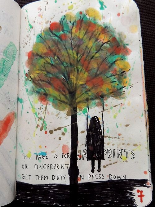 Wreck this journal ideas - the trunk of this tree made me wonder if you could do like the elder wand from Harry Potter with your fingerprint. Need to remember that.