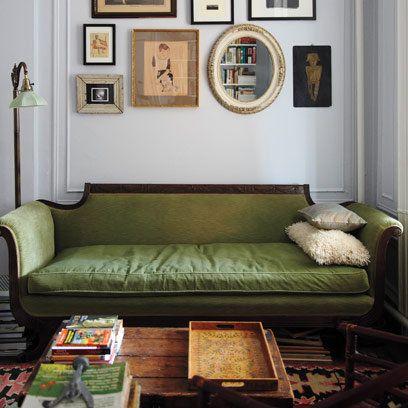 Kate Bolick's Antique Sofa, Design* Sponge, and neutral mismatched frames