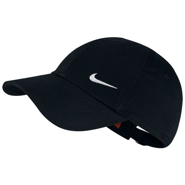 Nike Heritage Performance Cap ($16) ❤ liked on Polyvore featuring accessories, hats, black, nike, nike cap, caps hats, pattern hats and strap hats