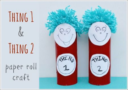 Thing 1 and Thing 2 - Dr Seuss craft for kids.