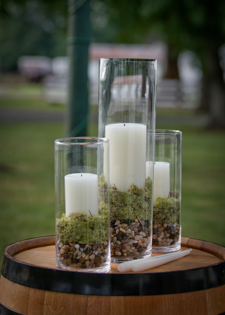 Unity candles on whiskey barrel. Very beautiful!