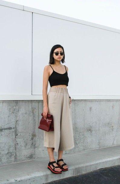 Top: black crop top, crop tops, platform sandals, culottes, ordinary people, ray…