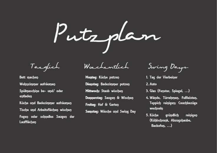 Putzplan -- seit Jahren verwende ich diesen Putzplan und mein Leben ist um ein vielfaches leichter geworden   www.thepellmellpack.wordpress.com