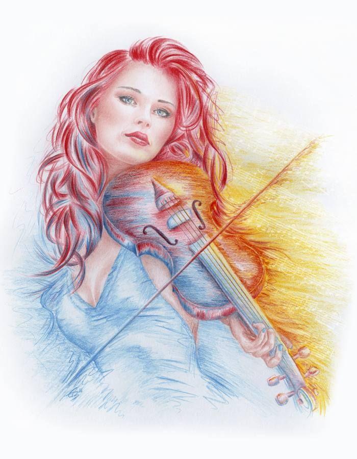 Zeichnung: Rauchende Frau Seitenprofil