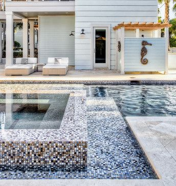 Ponte Vedra Residence - contemporary - pool - jacksonville - Beach Chic DesignShower Design, Beach House, Beach Style, Outdoor Shower, Contemporary Pools, Chic Design, Beach Chic, Mosaics Tile, Pools Design