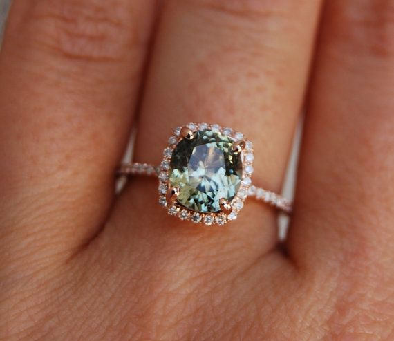 2.23ct Sparkling green tea sapphire cushion 14k rose gold diamond ring enagagement ring sapphire ring