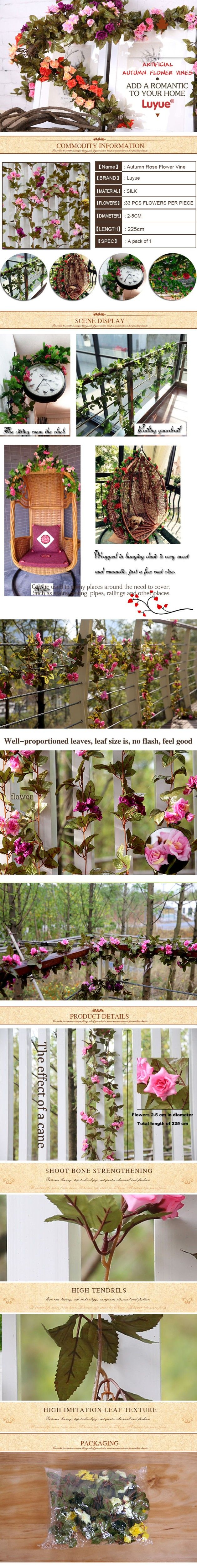 Свадебные украшения искусственные шелковый цветок розы вайн висячие гирлянда…