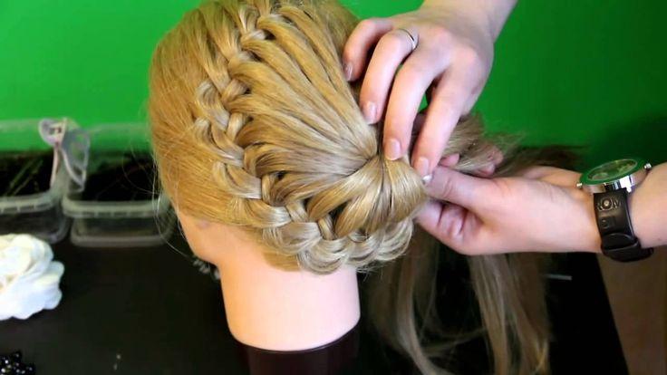 Плетение косичек - Ажурная коса с цветком из волос Hermoso peinado