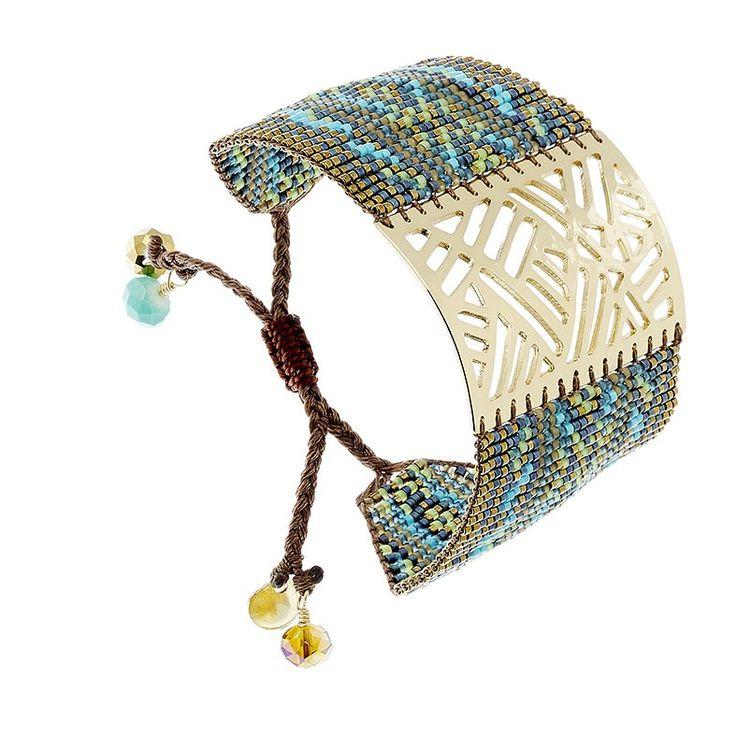Bracelet manchette Arlequin (turquoise et marron) - Bijoux Fantaisie Créateurs